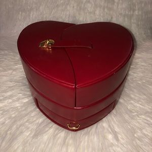 Vintage Red Leather Jewelry Box